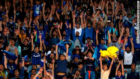 Esteghlal supporters attend the AFC Champions League group C football match between Iran's Esteghlal and Qatar's Al Duhail at the Azadi Stadium in Tehran on May 6, 2019.