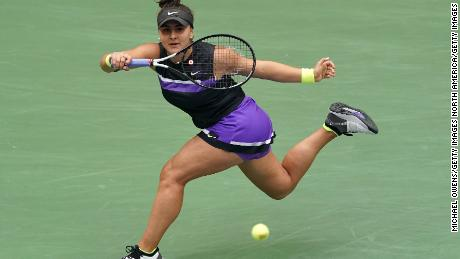 Bianca Andreescu returns a shot during the US Open final against Serena Williams.