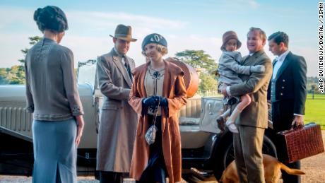 Elizabeth McGovern stars as Lady Grantham, Harry Hadden-Paton as Lord Hexham, Laura Carmichael as Lady Hexham, Hugh Bonneville as Lord Grantham and Michael Fox as Andy in 'Downton Abbey'