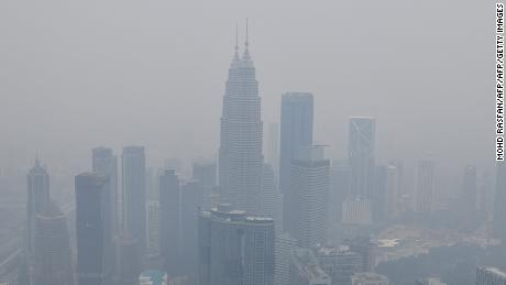 The Kuala Lumpur skyline shrouded in haze on September 11, 2019.