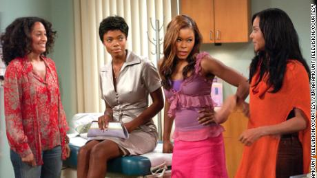 "(From left) Tracee Ellis Ross, Jill Marie Jones, Golden Brooks and Persia White in a scene from ""Girlfriends."""