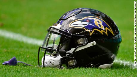A Baltimore Ravens helmet before the start of the game against the Miami Dolphins.