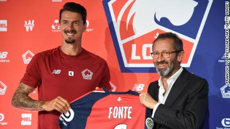 Jose Fonte with Lille CEO Marc Ingla when signing for the club.