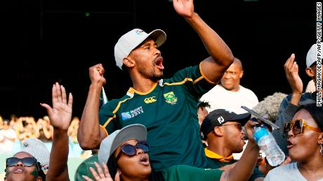 A member of Gwijo Squad sings in support of the Springboks against Argentina at Loftus Versfeld Stadium in Pretoria.