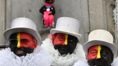 "The ""Noirauds"" or ""Blackies"" -- a group that marks Belgium's annual carnival season by charitable fund-raising in black face paint -- changed their colours to resemble the Belgian flag in 2019."