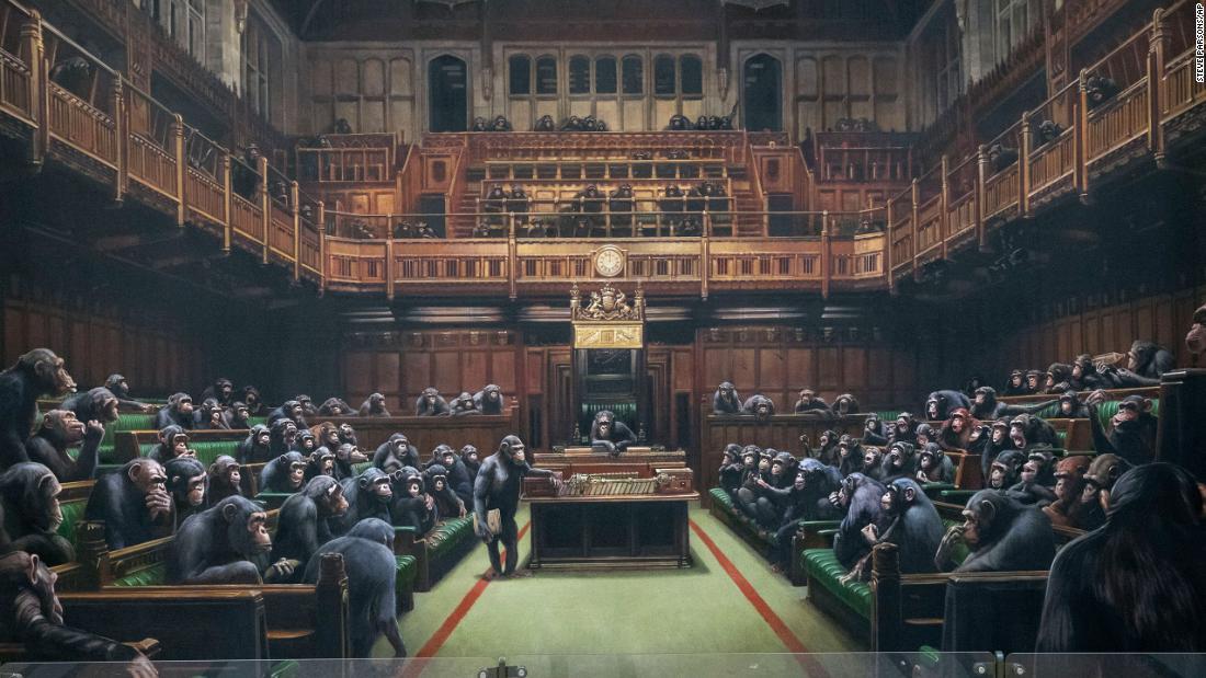 Banksy είναι χιμπατζή γεμάτο Κοινοβούλιο προς πώληση μέσα Brexit χάος