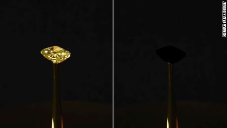 There's a new 'blackest black' material, and it can cloak even this bright, sparkling diamond