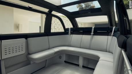 The passenger compartment is designed like a lounge area.