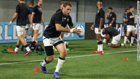 Blaine Scully trains ahead of USA's Rugby World Cup game against England.