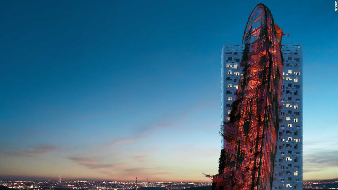 の$84.5mの超高層ビルのように見える'遭難'