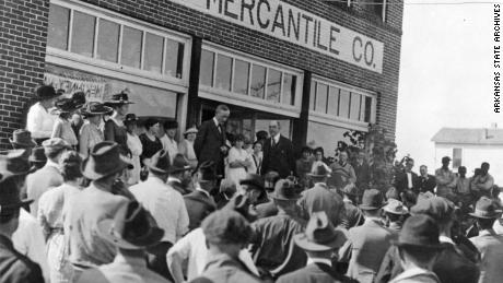 Governor Charles Brough addressing a crowd in Elaine after the Elaine Massacre; October 1919.