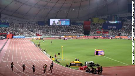 Very few people were in the stadium to watch the women's 100m final.