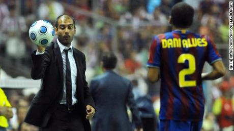 Alves, now playing in Brazil for Sao Paulo, calls Guardiola a 'genius.'