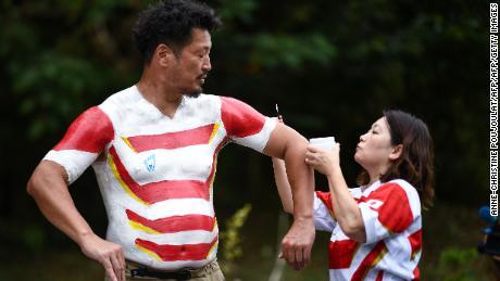 Hiroshi Moriyama's wife, Rika, applies the paint for every jersey her husband wears.