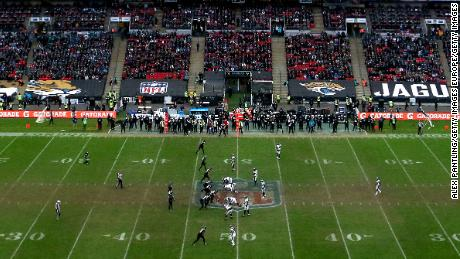 The Philadelphia Eagles and Jacksonville Jaguars face each other at Wembley Stadium in October last year.