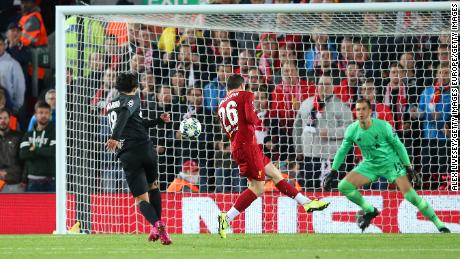 Takumi Minamino scores Salzburg's second with a wonderful volley.