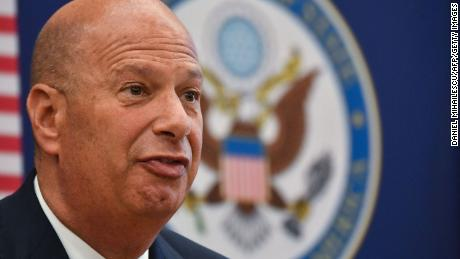 Gordon Sondland the United States Ambassador to the European Union adresses the media during a press conference at the US Embassy to Romania in Bucharest