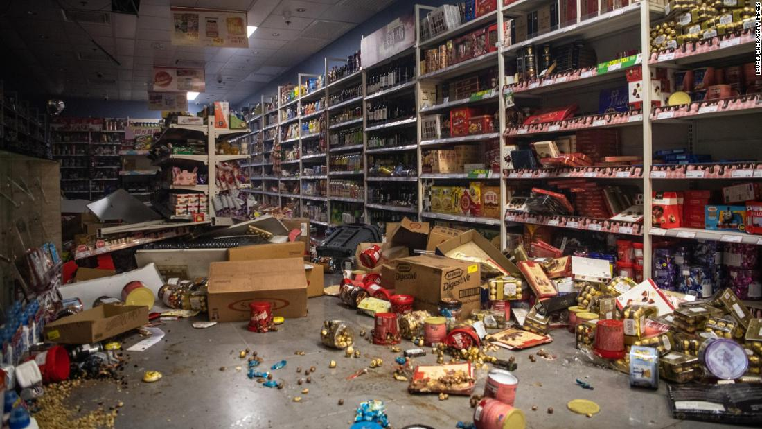 A store is in shambles after being vandalized by protesters.