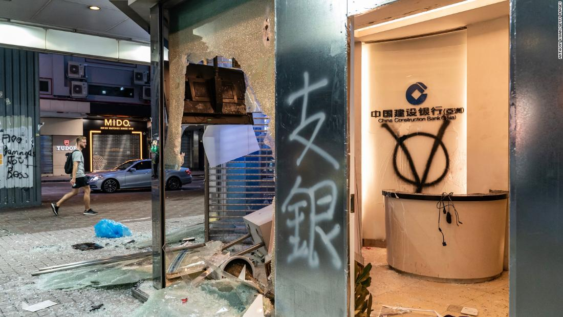 A China Construction Bank is seen vandalized in the Causeway Bay area of Hong Kong on October 6.