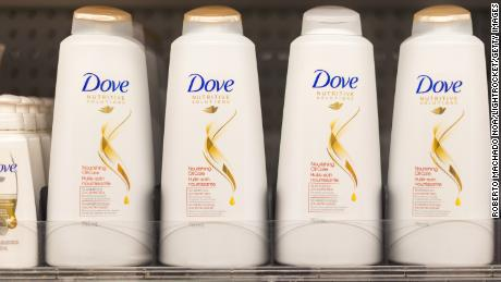 Dove shampoo and conditioner bottles for sale in Canada.