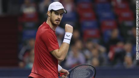 Andy Murray celebrates his win against Juan Ignacio Londero at the Shanghai Masters.