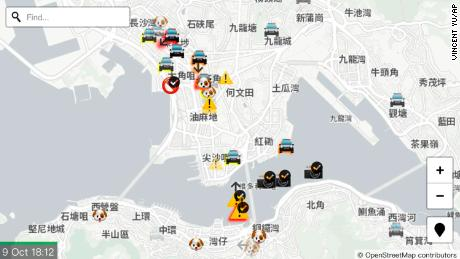 A display of the app HKmap.live.