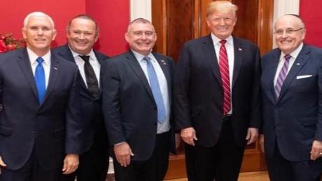 Igor Fruman and Lev Parnas (second and third from left) pictured with Vice President Mike Pence, President Donald Trump and Rudy Giuliani