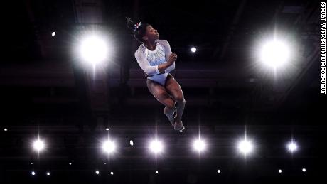 Biles flies high on the floor exercise at the 2019 world championships.