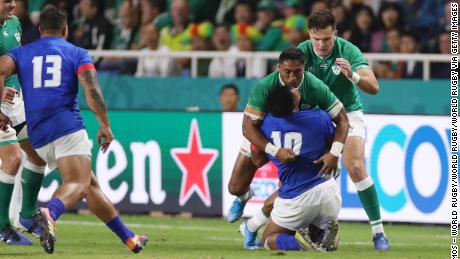 Bundee Aki was shown a straight red for his dangerous hit on Ulupano Seuteni.