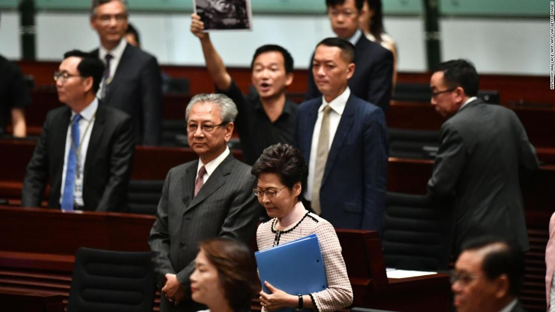 Hong Kong: Carrie Lam abandons policy address as lawmakers protest - CNN