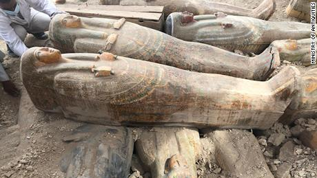 'As the ancient Egyptians left them': Archaeologists uncover more than 20 sealed coffins