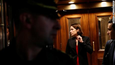 Fiona Hill, former senior director for European and Russian affairs on the National Security Council, departs after testifying in the impeachment inquiry on Capitol Hill in Washington on October 14, 2019.