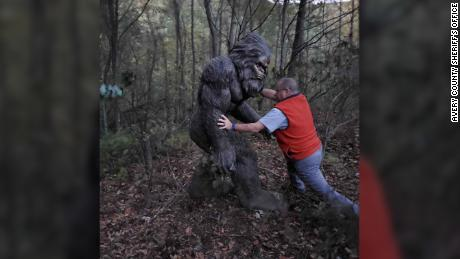 A missing Sasquatch statue was just found alone in the woods