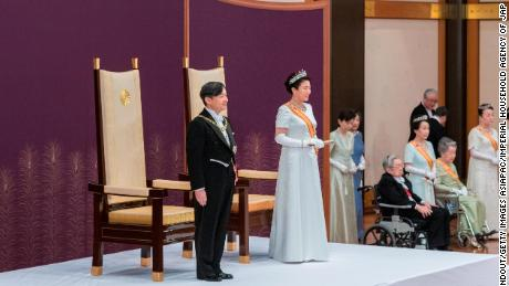 New Japanese Emperor Naruhito delivers his first speech after ascending the throne during the enthronement ceremony at the Imperial Palace on May 1, 2019 in Tokyo.