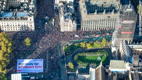 An aerial view of the anti-Brexit protest in Parliament Square, London.
