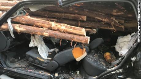 คนขับได้รับการช่วยเหลือทั้งชีวิตหลังจากที่รถของเขาถูกท่อนไม้จากรถบรรทุกเหยียบ
