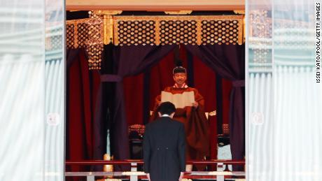 Japan's Emperor Naruhito proclaims his enthronement to the world at the Imperial Palace on October 22.