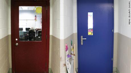 The old conventional classroom door in the Harrington Park School on the left, and Remo Doors' high-security bullet-resistant door on the right.