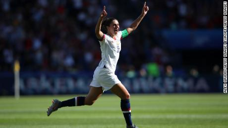 Lloyd celebrates after scoring against Chile at the Women's World Cup.