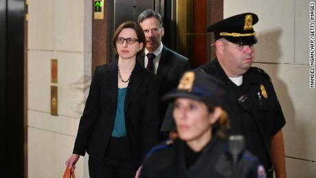 Deputy Assistant Secretary of Defense for Russia, Ukraine, and Eurasia Laura Cooper arrives at the US Capitol ahead of her closed-door deposition in Washington, DC on Wednesday.