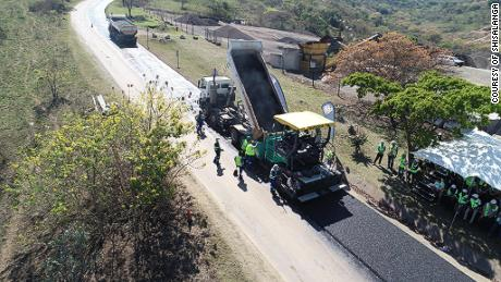 Shisalanga Construction lays down South Africa's first plastic road, which it says can withstand temperatures as high as 70C (158F) and as low as -22C (-7.6F).
