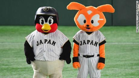 Swallows mascot Tsubakuro (left) and Giants mascot Giabbit (right) during the international friendly match between Mexico and Japan.