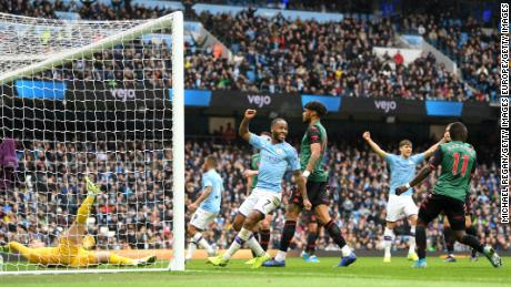 Manchester City players celebrates after scoring their controversial second goal against Aston Villa at the Etihad Stadium.