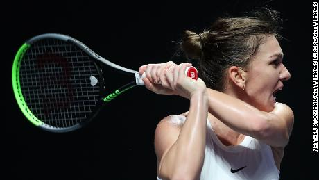 Simona Halep beat Bianca Andreescu in three sets at the WTA Finals on Monday.