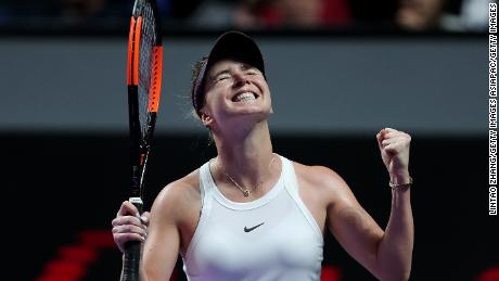 Elina Svitolina, the defending champion at the WTA Finals, stayed perfect by beating Sofia Kenin.