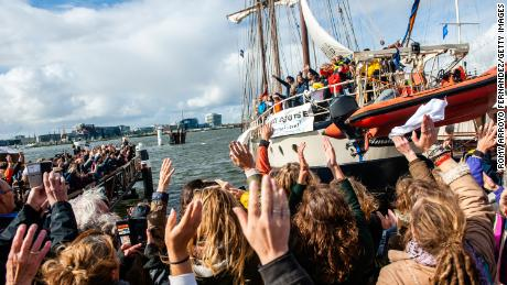 Activists sail four weeks across Atlantic for climate change summit -- then learn it is canceled
