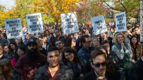 Google employees staged a walkout on November 1, 2018, in New York and other locations around the world. (Bryan R. Smith/AFP/Getty Images)