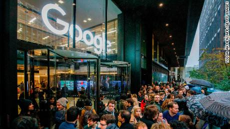 Staff at Google's UK headquarters in London also participated in the global walkout, protesting the tech giant's handling of sexual harassment. (Tolga Akmen/AFP/Getty Images)