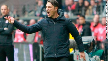 Bayern Munich's Croatian coach Niko Kovac is under pressure after a sorry away defeat to Eintracht Frankfurt.