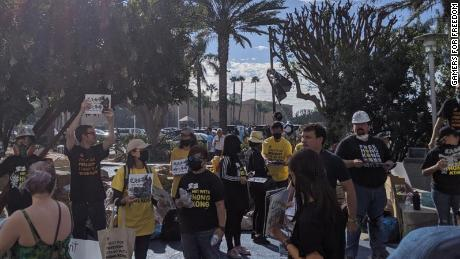 Protesters show up on Saturday outside the BlizzCon event in Anaheim, California.
